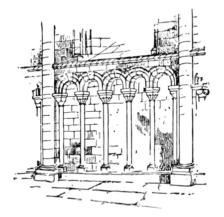 Arcature small dimensions balustrade series of little arches Cathedral of Petersborough dimensions vintage line drawing or engraving illustration. Illusztráció