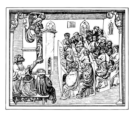 University Audience in the Fifteenth Century 15th century College students university vintage line drawing or engraving illustration.