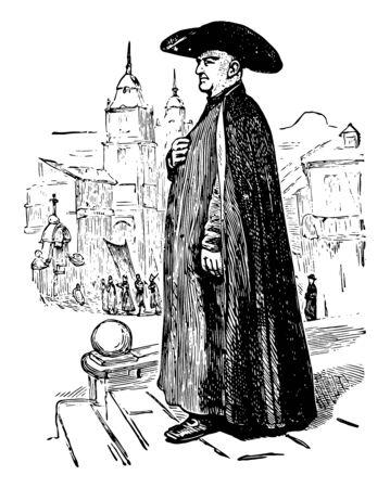 Un sacerdote español línea vintage de dibujo o ilustración de grabado Ilustración de vector