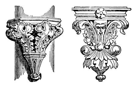 Ornamental Brackets is a short piecem cast and iron brass and bronze vintage line drawing or engraving illustration.