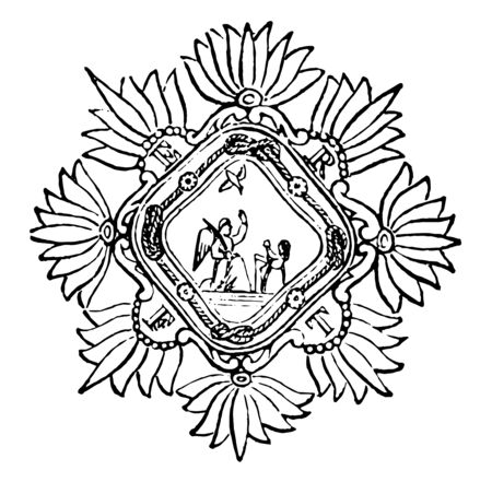 The religious Order of the Heavenly Annunciation or of the Nuns of the Annunciation of Mary was instituted by Victoria Fornare at Genoa in 1682vintage line drawing or engraving illustration