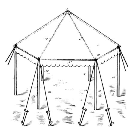 Building Canopy is an overhead roof or structure that is able to provide shade or shelter it have metal covering is attached and protection from the weather vintage line drawing or engraving illustration. Illustration