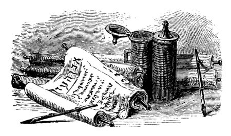 Ancient Scrolls, writing pens, inkstand, ancient, pens, vintage line drawing or engraving illustration.