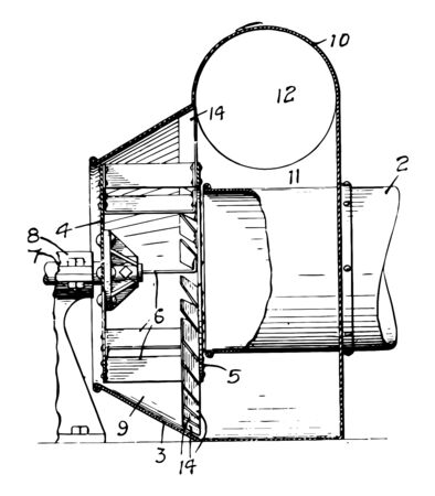 This illustration represents Centrifugal Fan where the fan wheel with several blades vintage line drawing or engraving illustration.
