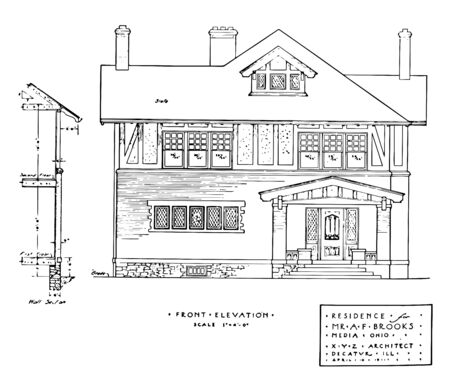 Resident Front Elevation elevations of residential buildings front elevation is a part of a scenic design look as grown vintage line drawing or engraving illustration.