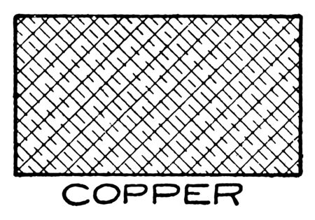 Mechanical Drawing Cross Hatching of Copper is a Conventional, cotton gin depicts internal moving parts, conventional face hardened steel, commonly used in military armory, vintage line drawing or engraving illustration.