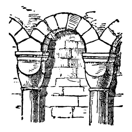 Arcade are found in Paris arch architecture covered Passage pillar Way vintage line drawing or engraving illustration. 向量圖像