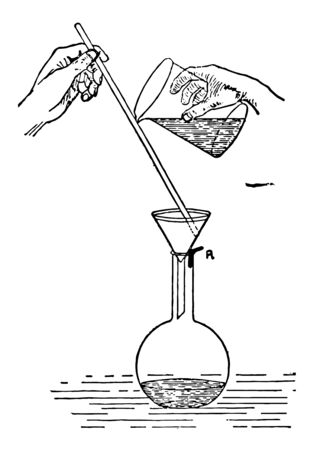 A funnel is placed in an Erlenmeyer flask vintage line drawing or engraving illustration. Illustration