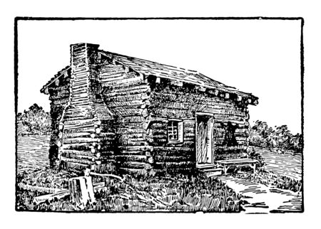 This is the log cabin in Kentucky where Abraham Lincoln was born. This was very old house which was built with wooden stuff vintage line drawing or engraving illustration.