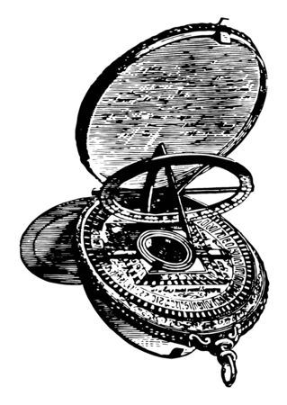 Astrolabe an obsolete astronomical instrument of different forms vintage line drawing or engraving illustration. Ilustrace