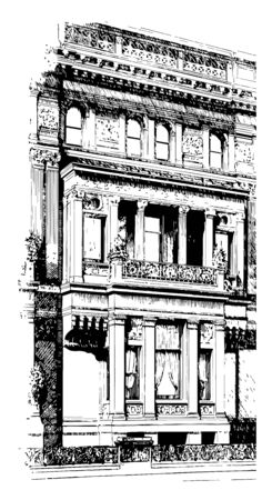 Recessed Balcony new york architecture shadows Landscape house vintage line drawing or engraving illustration. Vettoriali