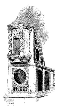 Ambo in the Ara Coeli a titular basilica in Rome the designated Church the city council of Rome vintage line drawing or engraving illustration.