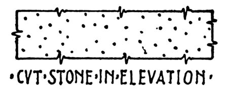 CVT Stone in Elevation Material Symbol is a widely accepted building material symbol authentic but new aspect of the natural stone fractures or deep scratches in the finish vintage line drawing or engraving illustration. Vector Illustratie