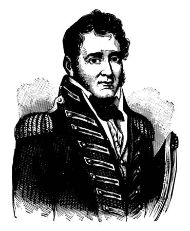 Johnston Blakeley 1781 to 1814 he was one of the most successful American naval officers in the United States navy during the quasi to war and war of 1812 vintage line drawing or engraving illustration