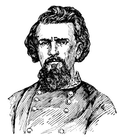 Nathan Bedford Forrest 1821 to 1877 he was a lieutenant general in the confederate army during the American civil war vintage line drawing or engraving illustration