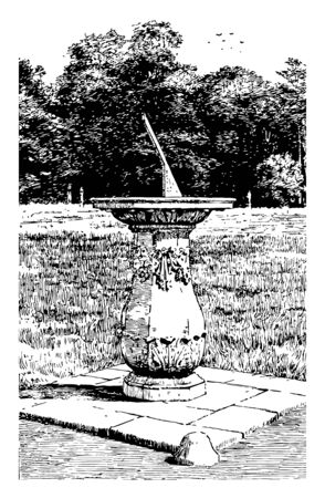 The Formal Garden is a one of many drawings of gardens it includes clear structure and geometric shapes and principle of imposing order on nature vintage line drawing or engraving illustration.