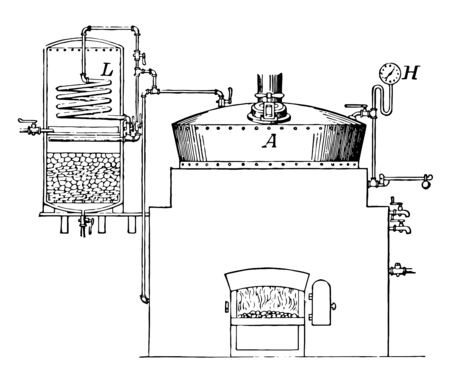 This illustration represents Rendering Tank which is a tank or boiler for rendering lard vintage line drawing or engraving illustration.