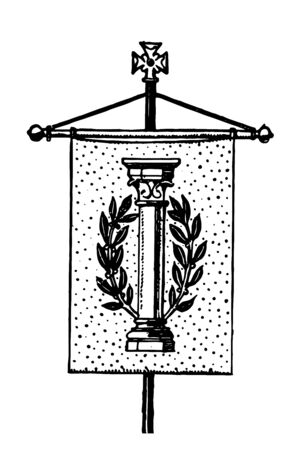Gonfanon this vertical flag looks like banner it has pillar and laurel wreath and small dots all over vintage line drawing or engraving illustration