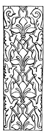 Arabesque is a so far as etymology is concerned it is used to characterize a peculiar kind of fantastic decoration vintage line drawing or engraving illustration. Illustration