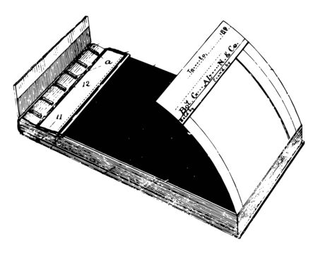 This illustration represents Duplicating Memorandum Book which consists of a U shaped frame comprised of two opposite sides, vintage line drawing or engraving illustration. 向量圖像