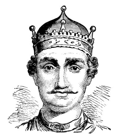 William I of England, c. 1028-1087, he was the first Norman king of England, vintage line drawing or engraving illustration