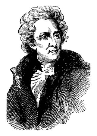 Andrew Jackson 1767 to 1845 he was an American soldier statesman seventh president of the United States from 1829 to 1837 United States senator from Tennessee and military governor of Florida vintage line drawing or engraving illustration Illusztráció