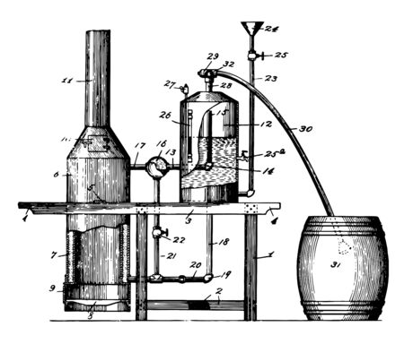 This illustration represents Steam Feed Cooker and Evaporator which maintains a relatively low temperature compared to other cooking methods, vintage line drawing or engraving illustration.