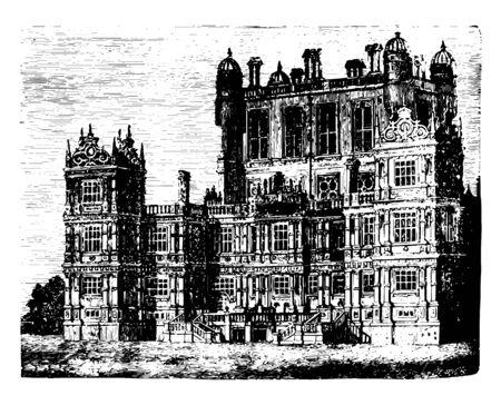 Wollaton Hall una casa di campagna in piedi su una piccola ma prominente collina a Wollaton utilizzata ad angoli e stipiti del disegno dell'annata rinascimentale elisabettiana o illustrazione dell'incisione.