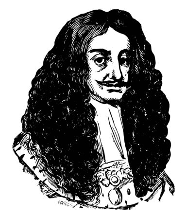 Charles II 1630 to 1685 he was king of England and Ireland from 1660 to 1685 and king of Scotland from 1649 to 1651 vintage line drawing or engraving illustration 일러스트