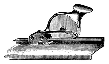 This illustration represents Wallpaper Trimmer which is a manual wallpaper cutter vintage line drawing or engraving illustration.