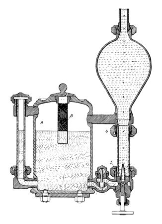 This illustration represents work function of Automatic Feeder for Lubricating Materials vintage line drawing or engraving illustration. Ilustrace