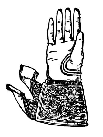 16th Century Glove is a very common glove, vintage line drawing or engraving illustration.