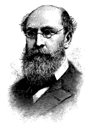 Benjamin A. Gould 1824 to 1896 he was an American astronomer famous for creating the Astronomical Journal discovering the Gould Belt and for founding of the Argentine National Observatory vintage line drawing or engraving illustration Иллюстрация