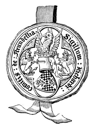 Seal of Richard Earl of Arundel is large in proportion to the shield and it was usually represented in the compositions of the fourteenth and fifteenth centuries vintage line drawing or engraving illustration.