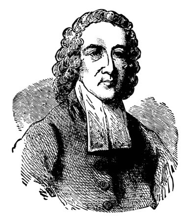 Jonathan Edwards 1703 to 1758 he was an American revivalist preacher philosopher and Congregationalist protestant theologian vintage line drawing or engraving illustration