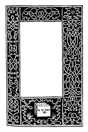Scrolling Border is a design of intertwined scrolls that wrap around the entire border vintage line drawing or engraving illustration.