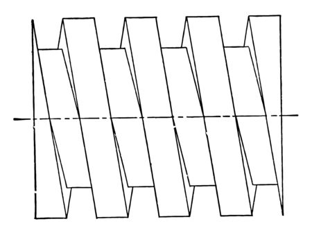 Square Thread Screw is an accurate three dimensional view it is used in high load applications which translate turning motion into linear motion vintage line drawing or engraving illustration. Ilustração