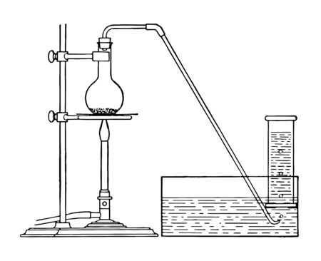 An apparatus showing how to capture pure samples of gases vintage line drawing or engraving illustration.