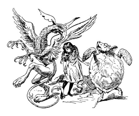 Alice in Wonderland this scene shows a tortoise and eagle looking at each other and a girl in between them looking down vintage line drawing or engraving illustration  Ilustrace