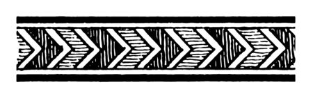 Assyrian Ornament is a Chevron motive vintage line drawing or engraving illustration.