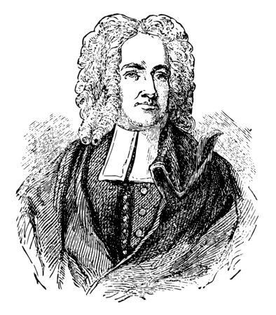 Cotton Mather he was a socially and politically influential New England Puritan minister prolific author and pamphleteer vintage line drawing or engraving illustration Ilustrace