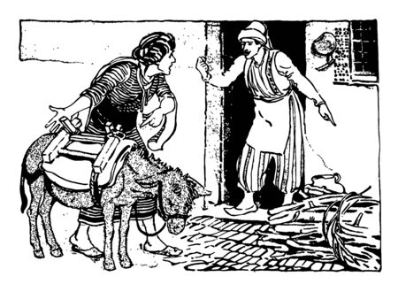Ali The Barber of Bagdad this scene shows a man with donkey and another man coming out from his house and telling something to him vintage line drawing or engraving illustration
