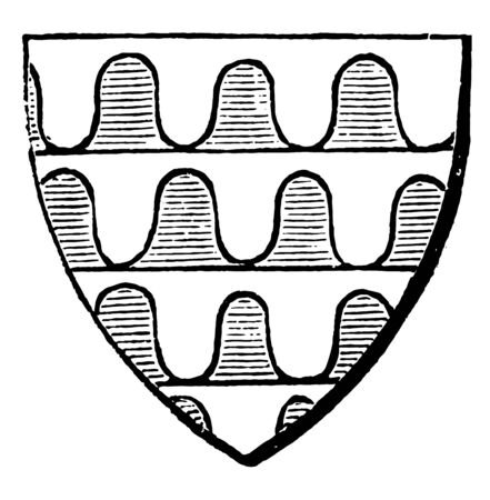 Varus Shield with argent azure blue tinctures vintage line drawing or engraving illustration.