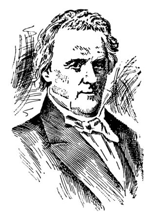 James Buchanan 1791 to 1868 he was the fifteenth president of the United States from 1857 to 1861 & U.S. senator from Pennsylvania famous for being the last president before the start of the civil war vintage line drawing or engraving illustration