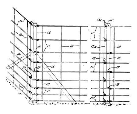 Wire Fence barrier obstacle obstruction roadblock vintage line drawing or engraving illustration