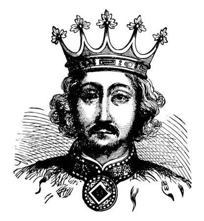 Richard II of England, 1367-1400, he was the king of England from 1377 to 1399, vintage line drawing or engraving illustration