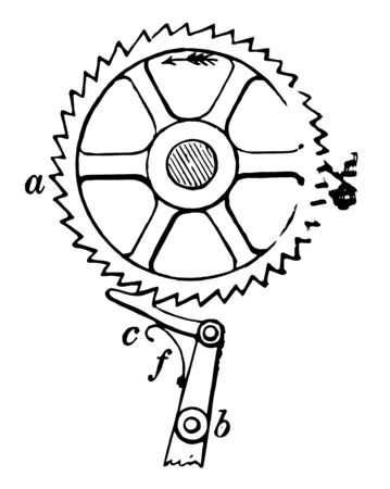 This illustration represents function of Ratchet Wheel vintage line drawing or engraving illustration.
