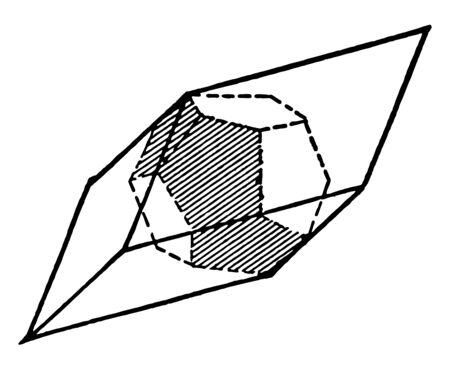 This diagram represents Pyrite and its observed the pentagonal dodecahedron vintage line drawing or engraving illustration.