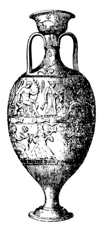 Amphora storage of various products both liquid and dry but mostly for wine the pithos may have multiple small loops or lugs for fastening a rope harness vintage line drawing or engraving illustration.