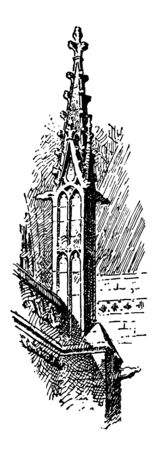 York Minster Buttress Pinnacle cathedral in York, England, architectural ornaments, supported by the buttressed walls, vintage line drawing or engraving illustration.